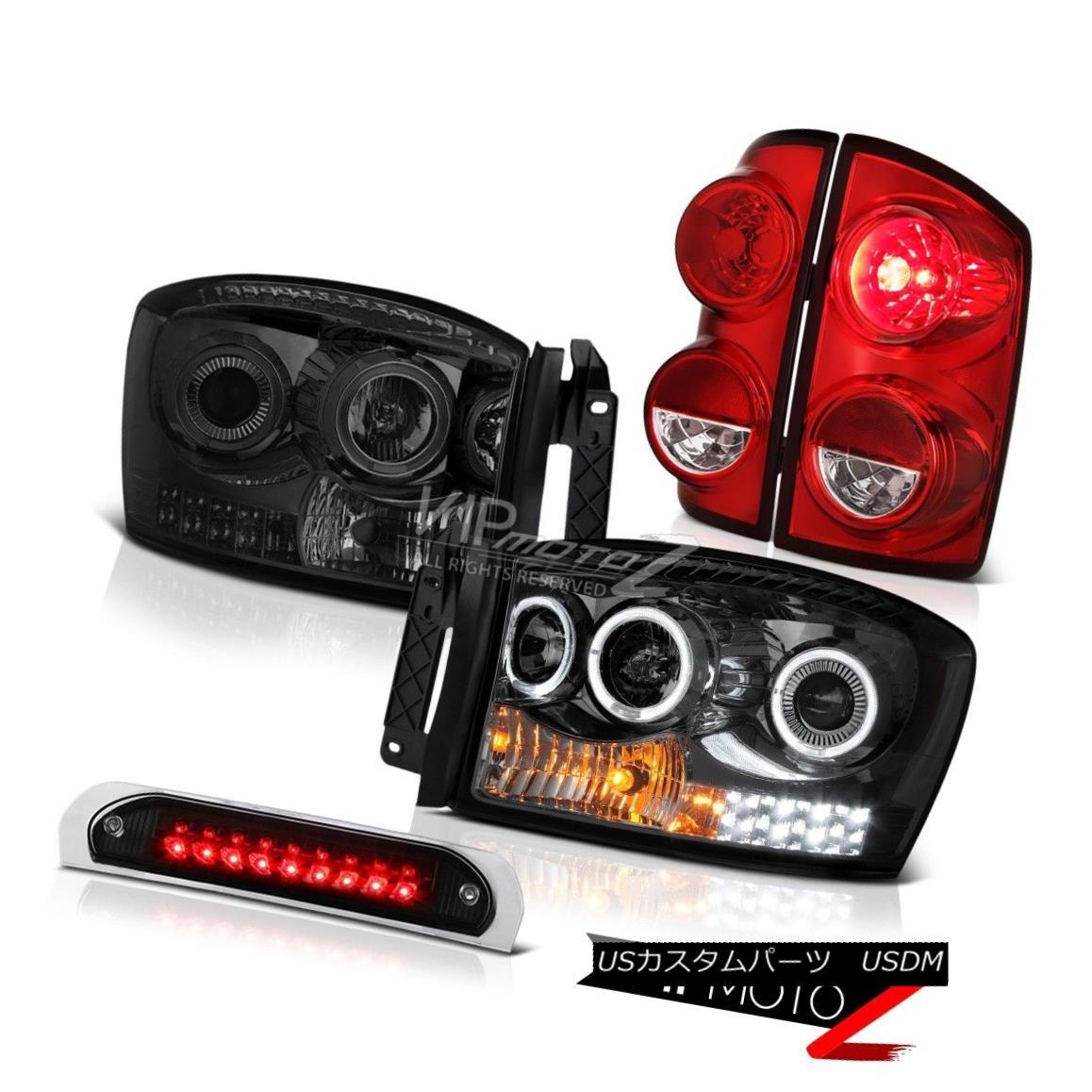テールライト 2007-2009 Dodge Ram 2500 WS Black Roof Cab Light Taillamps Headlamps Dual Halo 2007-2009ダッジラム2500 WSブラックルーフキャブライトタイルランプヘッドランプデュアルヘイロー