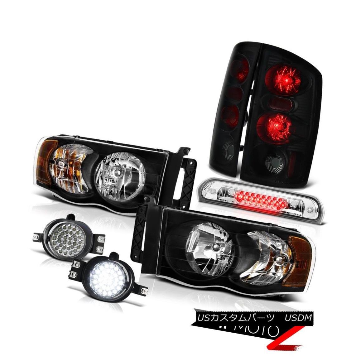 テールライト 02-05 Ram Hemi Pair Black Headlamps Sinister Brake Lights SMD LED Fog Roof Stop 02-05ラムヘミペアブラックヘッドランプ不快なブレーキライトSMD LEDフォグ屋根停止
