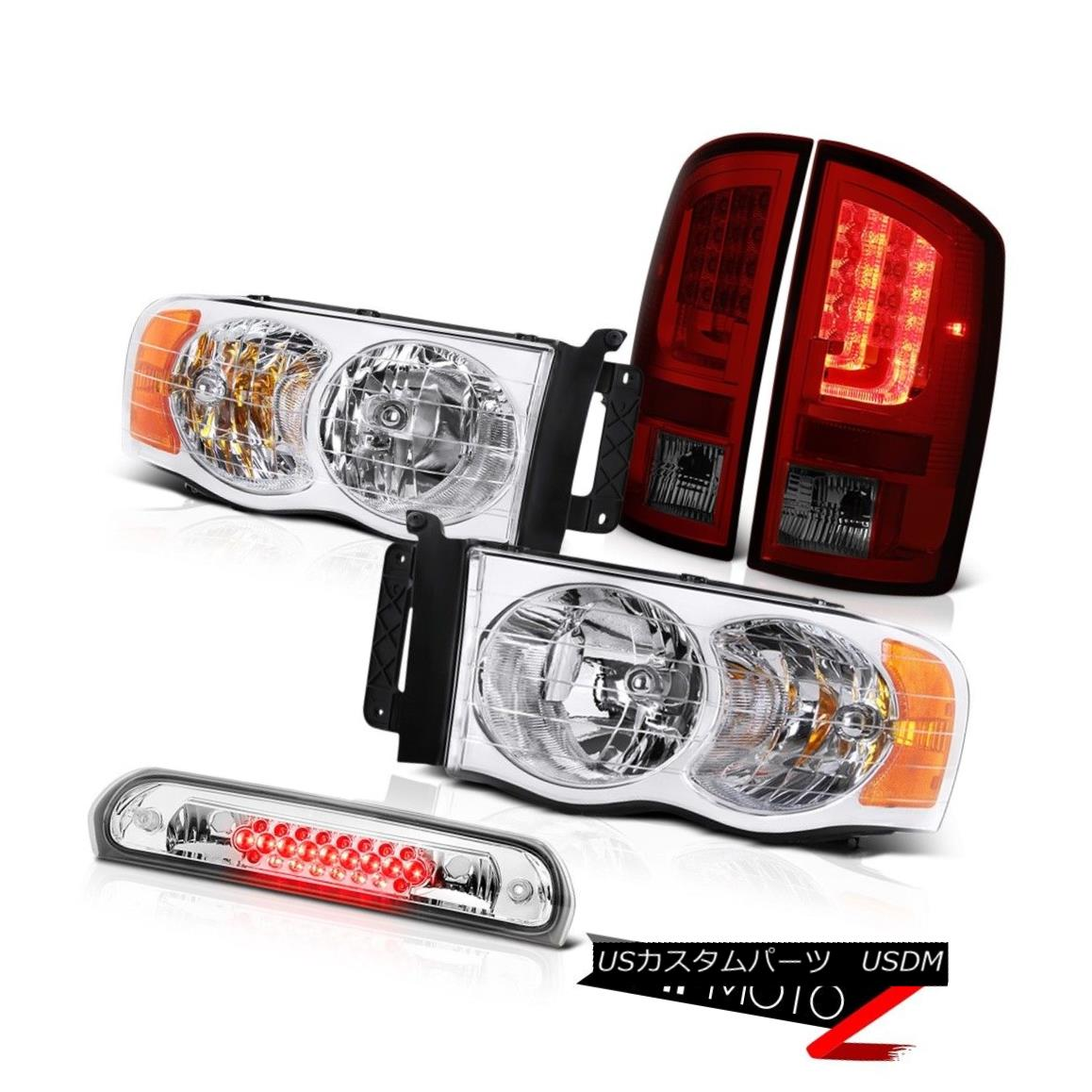 テールライト 02-05 Dodge Ram 2500 1500 3.7L Tail Brake Lights Chrome Headlamps 3RD Lamp LED 02-05 Dodge Ram 2500 1500 3.7Lテールブレーキライトクロームヘッドランプ3RDランプLED