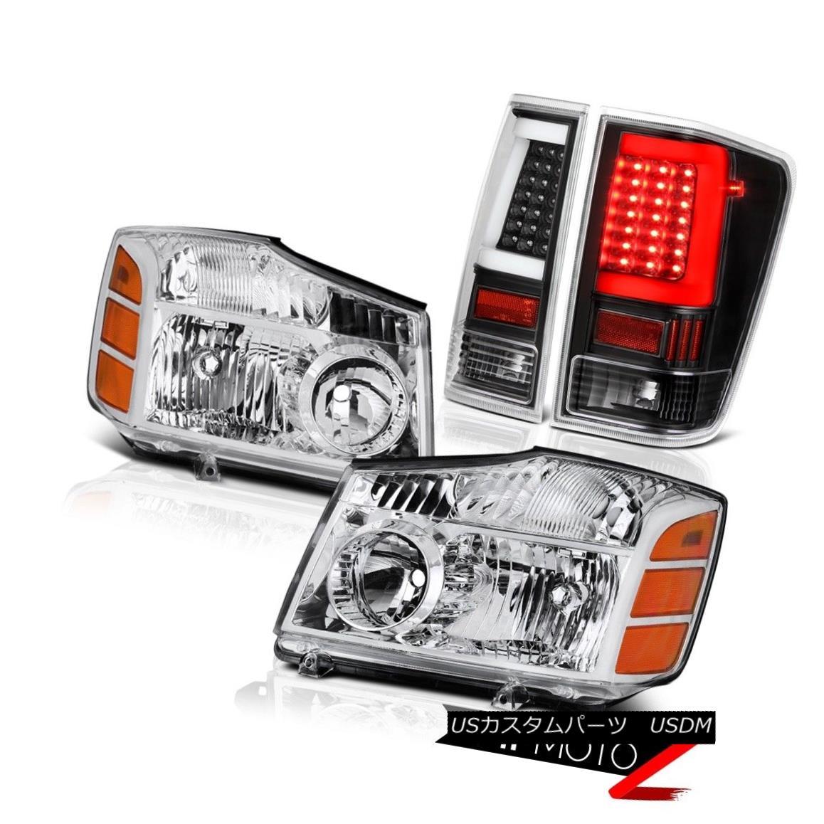 テールライト 04-14 For Nissan Titan Black Led Tube Tail Euro Chrome Head Lamps Replacement 04 - 14日産のタイタンブラックチューブテールのユーロクロームヘッドランプの交換