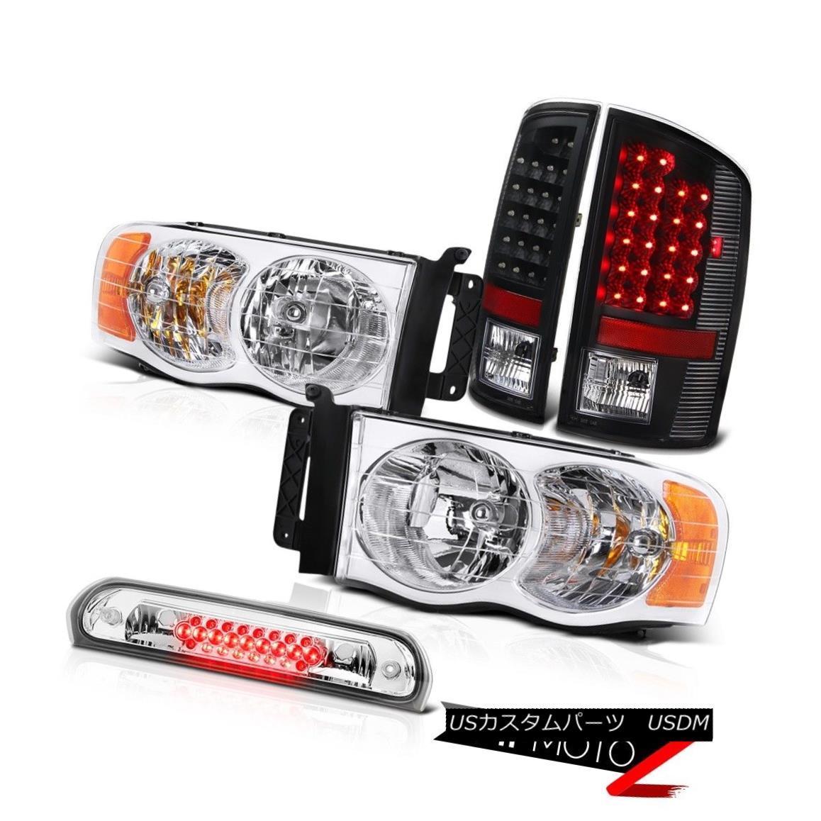 テールライト Pair New Headlight LED Black Taillights High Stop Chrome 2002-2005 Ram Magnum V8 ペアの新しいヘッドライトLEDブラックティールライトハイストップクロム2002-2005ラムマグナムV8