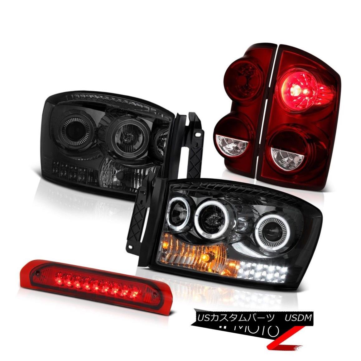 テールライト 07-08 Ram 1500 2500 3500 6.7L Tail Lights Smokey Headlights Third Brake Lamp LED 07-08ラム1500 2500 3500 6.7Lテールライトスモーキーヘッドライト第3ブレーキランプLED