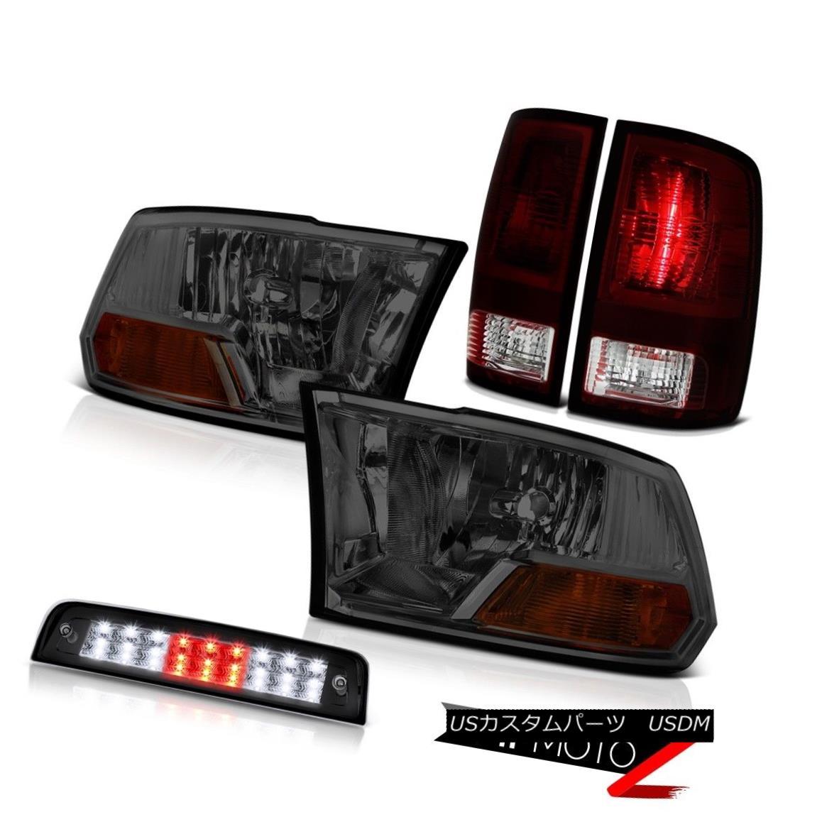 テールライト 09-18 Ram 1500 2500 3500 Big Horn 3RD Brake Lamp Smokey Red Rear Lamps Headlamps 09-18ラム1500 2500 3500ビッグホーン3RDブレーキランプスモーキーレッドリアランプヘッドランプ