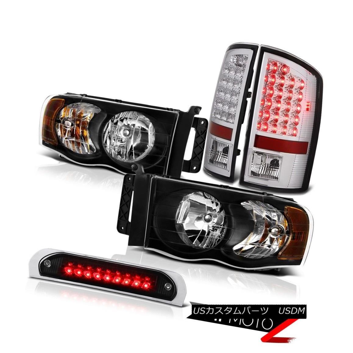 テールライト Inky Black Headlights LED Bulb Brake Rear Tail Lights High Stop 02-05 Ram SLT Inky BlackヘッドライトLED電球ブレーキリアテールライトハイストップ02-05 Ram SLT