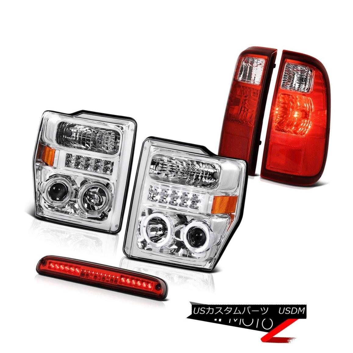 テールライト Chrome Halo DRL SMD Headlights Roof Brake LED Red Taillight 08-10 Ford F250 5.4L クロームハローDRL SMDヘッドライトルーフブレーキLEDレッドテールライト08-10 Ford F250 5.4L