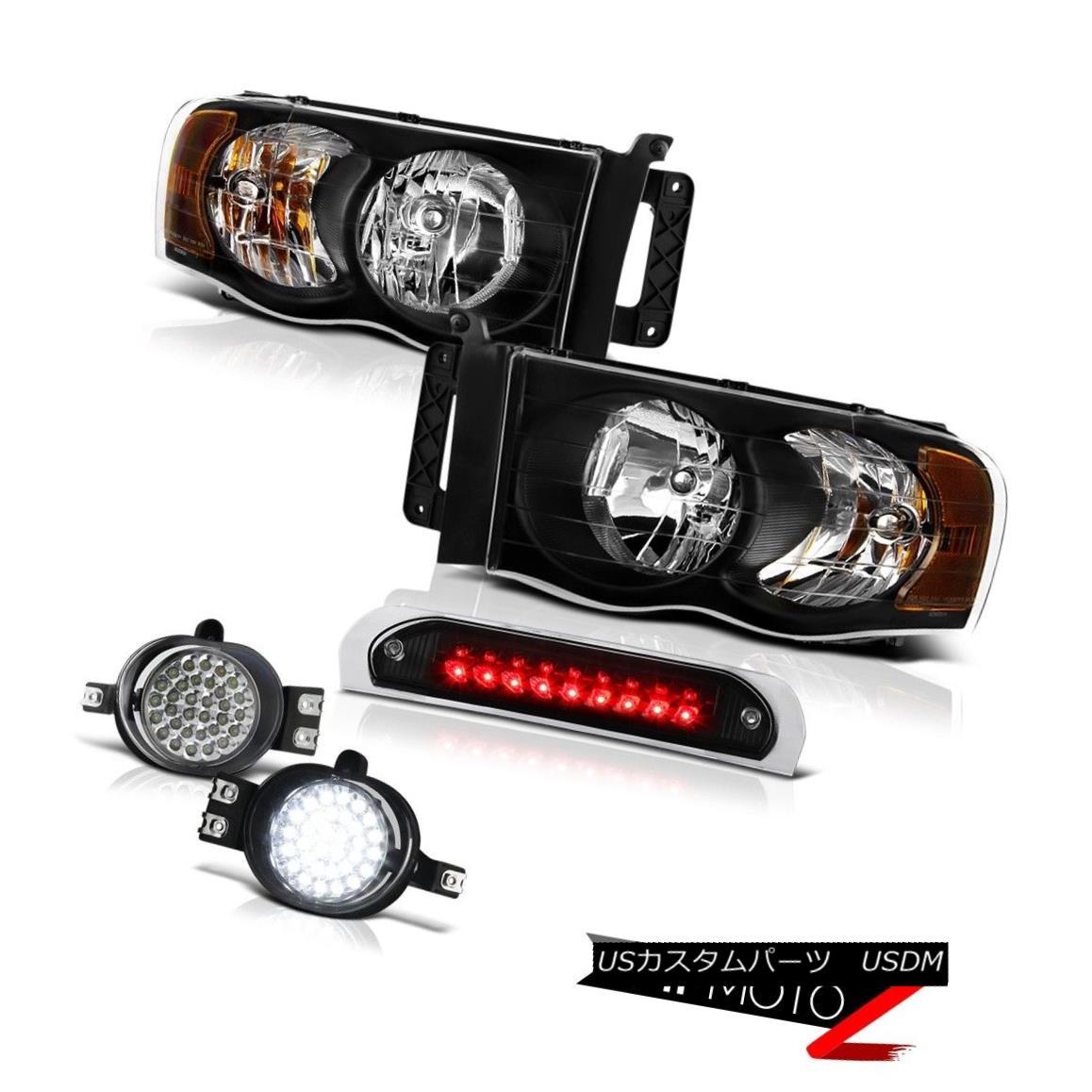 テールライト Black Headlights Trim LED Wiring Foglights Roof Brake Cargo 2002-2005 Ram 1500 ブラックヘッドライトトリムLEDワイヤリングフォグライトルーフブレーキカーゴ2002-2005ラム1500