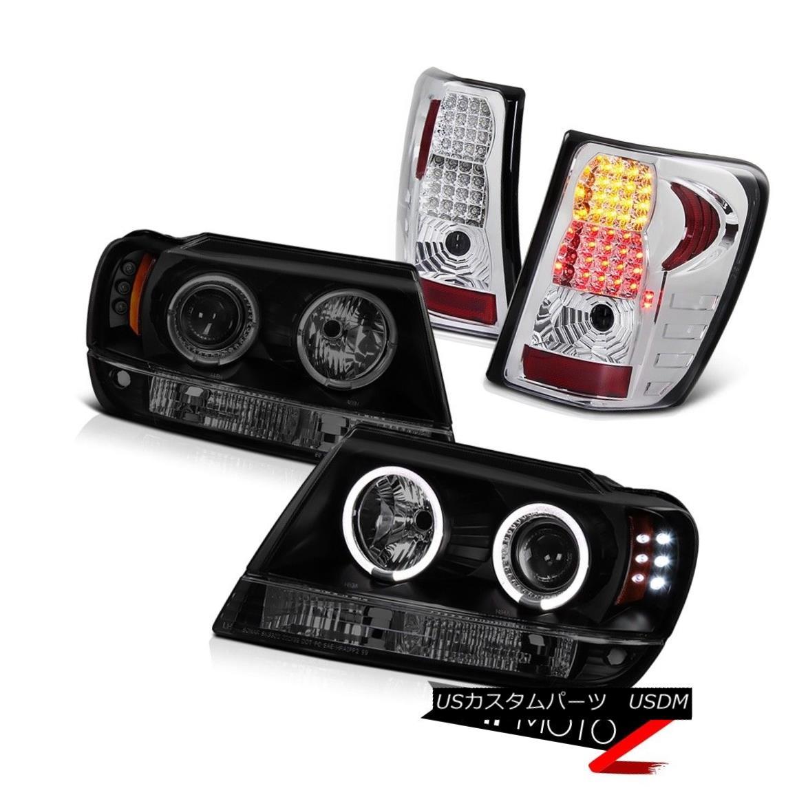 テールライト 1999-2004 Jeep Grand Cherokee Smoke Halo Headlight+Super Bright LED Taillights 1999-2004ジープ・グランド・チェロキー・スモーク・ヘイロー・ヘッドライト+スープ