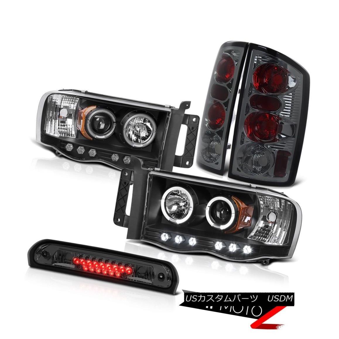 テールライト Black Halo Rim LED Headlights Rear Signal Tail Lights Third Brake 02-05 Ram 3500 ブラックハローリムLEDヘッドライトリアシグナルテールライトサードブレーキ02-05 Ram 3500