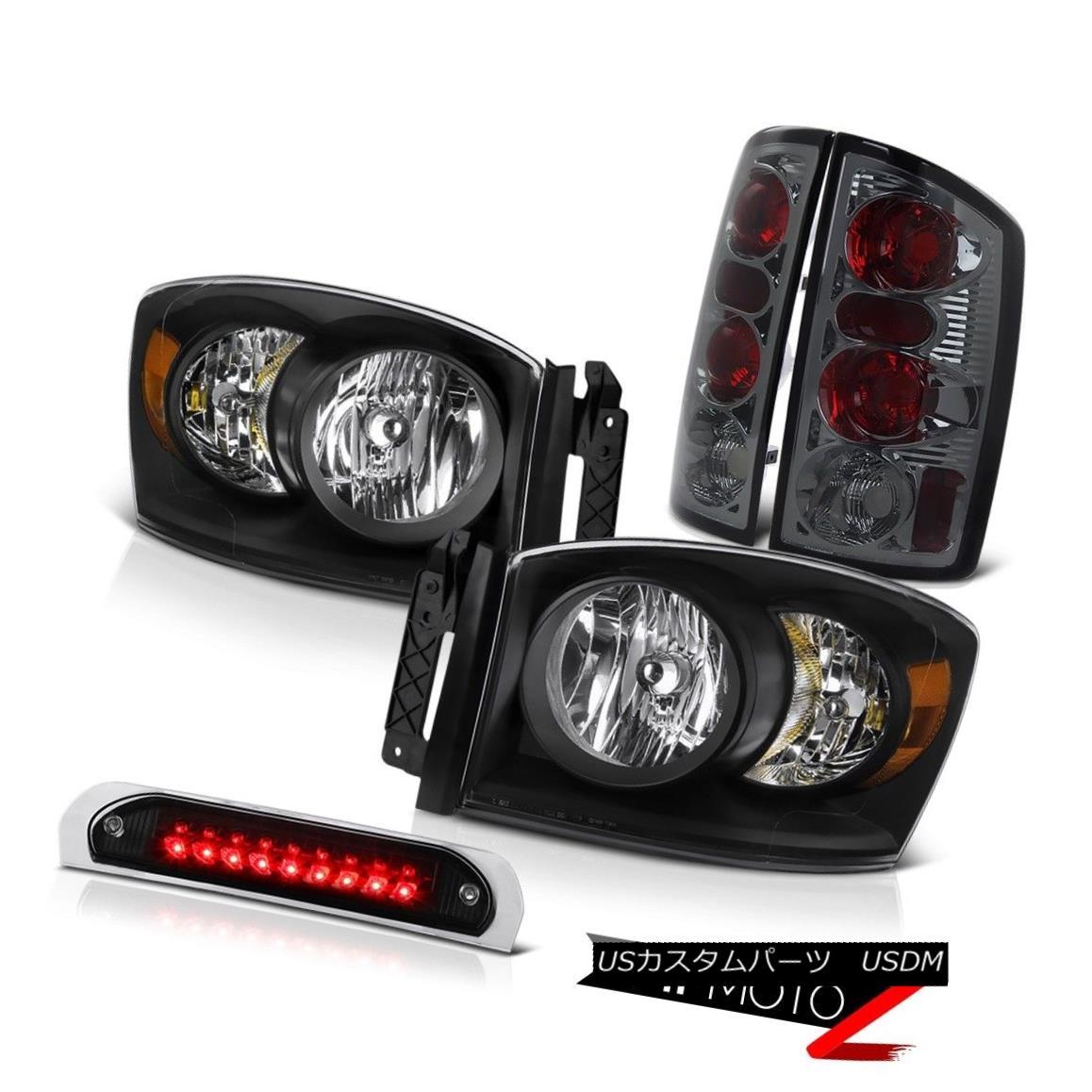 テールライト Satin Black Headlamps Rear Tail Lights Assembly Roof Stop LED Bulb 2006 Ram 3500 サテンブラックヘッドランプリアテールライトアセンブリルーフストップLEDバルブ2006 Ram 3500
