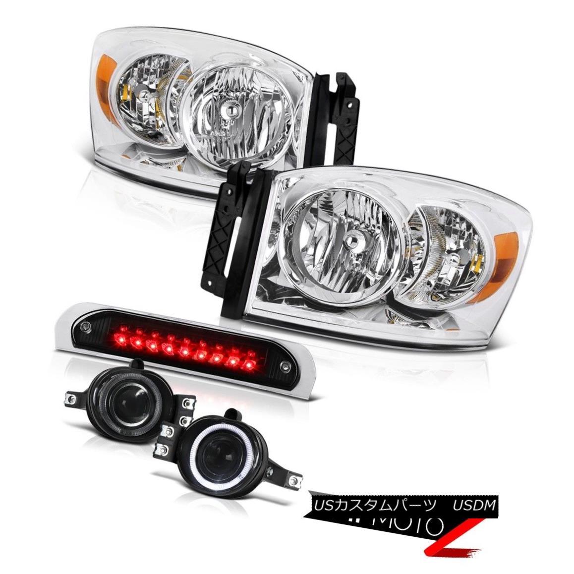テールライト Chrome Headlight Projector Fog Lights High Stop LED Black 07 2008 Dodge Ram 1500 クロームヘッドライトプロジェクターフォグライトハイストップLEDブラック07 2008ドッジラム1500