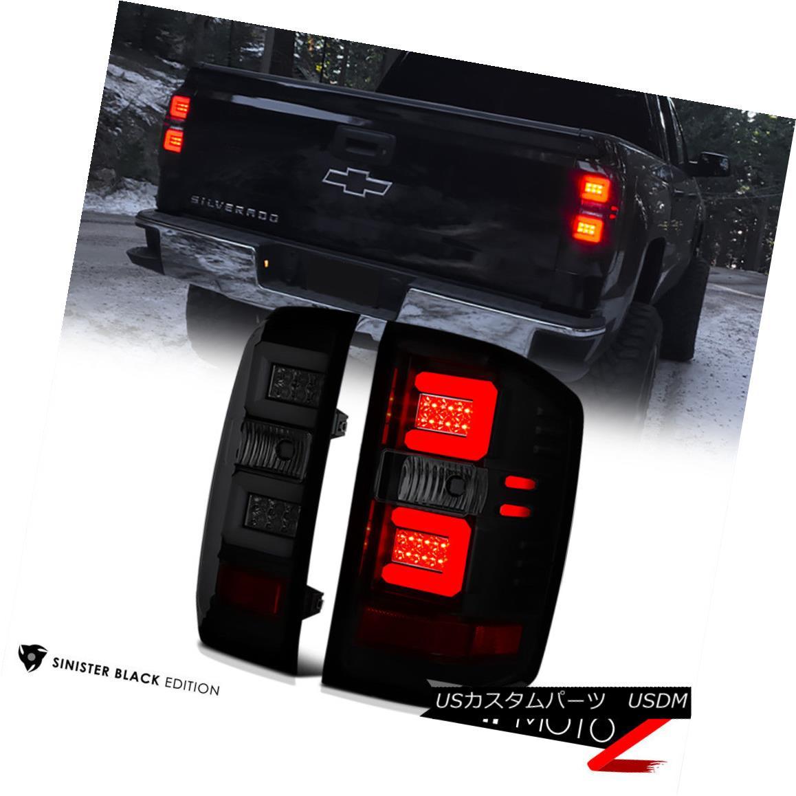 テールライト [SINISTER BLACK] Smoke LED Neon Tube Tail Lights 2016-2018 Chevy Silverado Truck [SINISTER BLACK]スモークLEDネオンチューブテールライト2016-2018 Chevy Silverado Truck