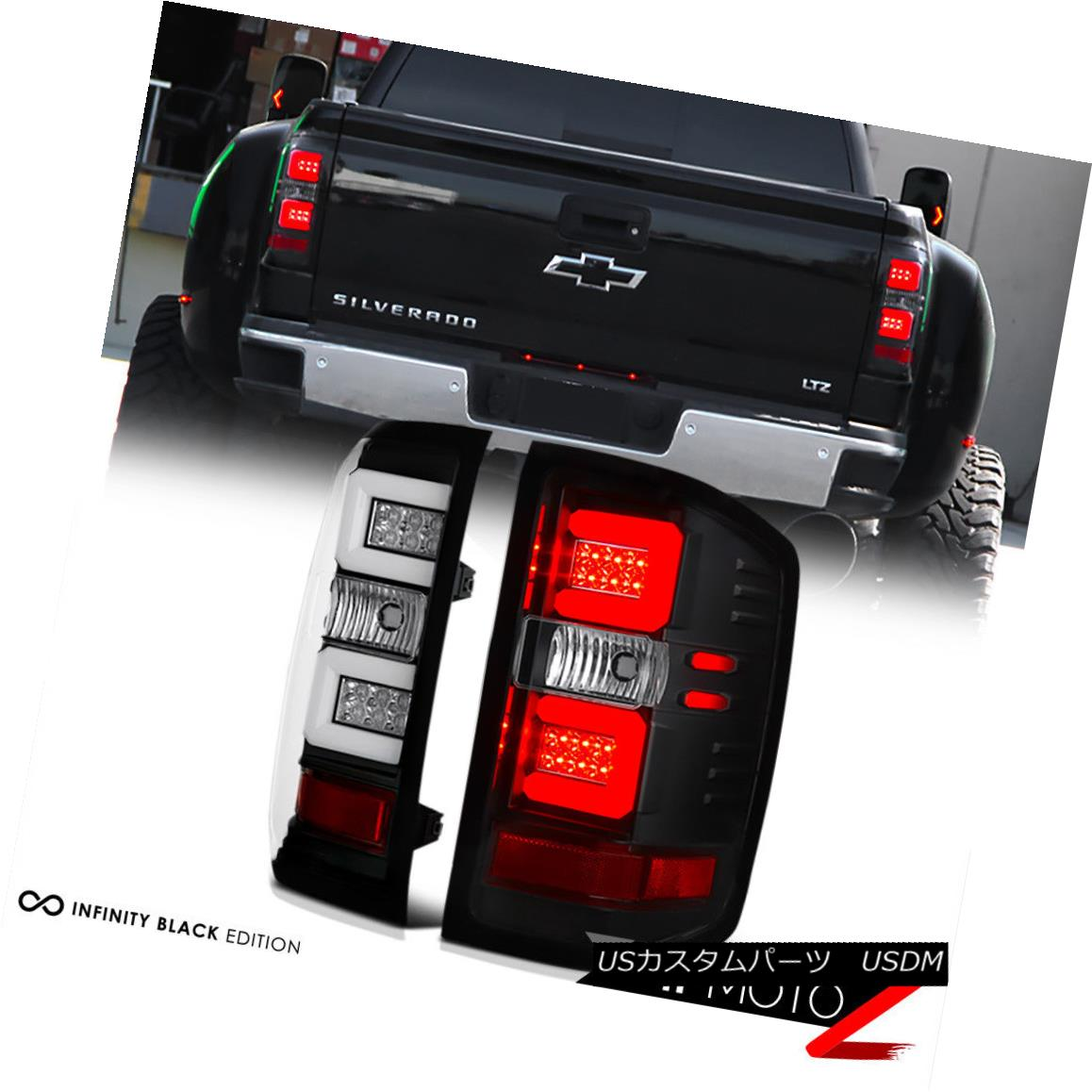 テールライト 2016-2018 Chevy Silverado 1500 2500HD 3500HD Black LED Neon Tube Tail Light Lamp 2016-2018 Chevy Silverado 1500 2500HD 3500HD黒色LEDネオンチューブテールライトランプ