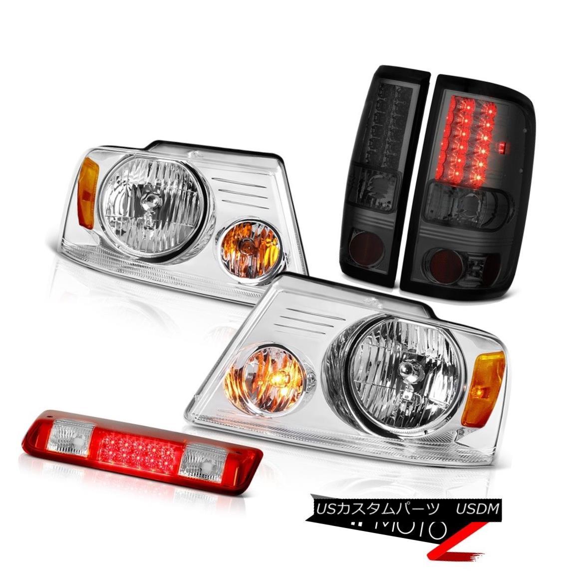 テールライト 04-08 Ford F150 XL Red Roof Cargo Light Headlights Titanium Smoke Taillamps SMD 04-08フォードF150 XLレッドルーフカーゴライトヘッドライトチタンスモークタイマーSMD