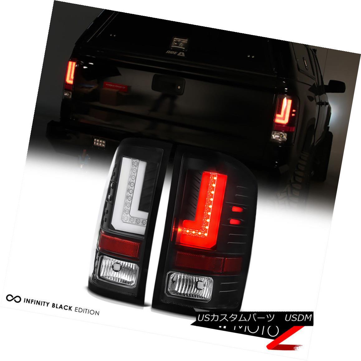 テールライト 2014-2016 GMC Sierra 1500 2500 3500 FiBer OpTiC Black LED Rear Brake Tail Lights 2014-2016 GMC Sierra 1500 2500 3500 FiBer OpTiCブラックLEDリアブレーキテールライト
