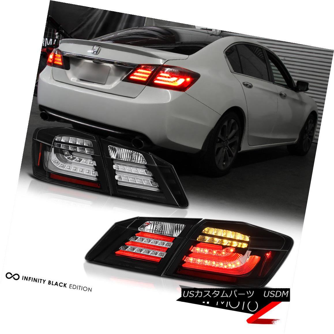 テールライト JDM 2013-2015 Accord Sport EX LX Black [HIGH POWER] LED Taillights Brake Signal JDM 2013-2015アコードスポーツEX LXブラック[HIGH POWER] LEDターンライトブレーキ信号