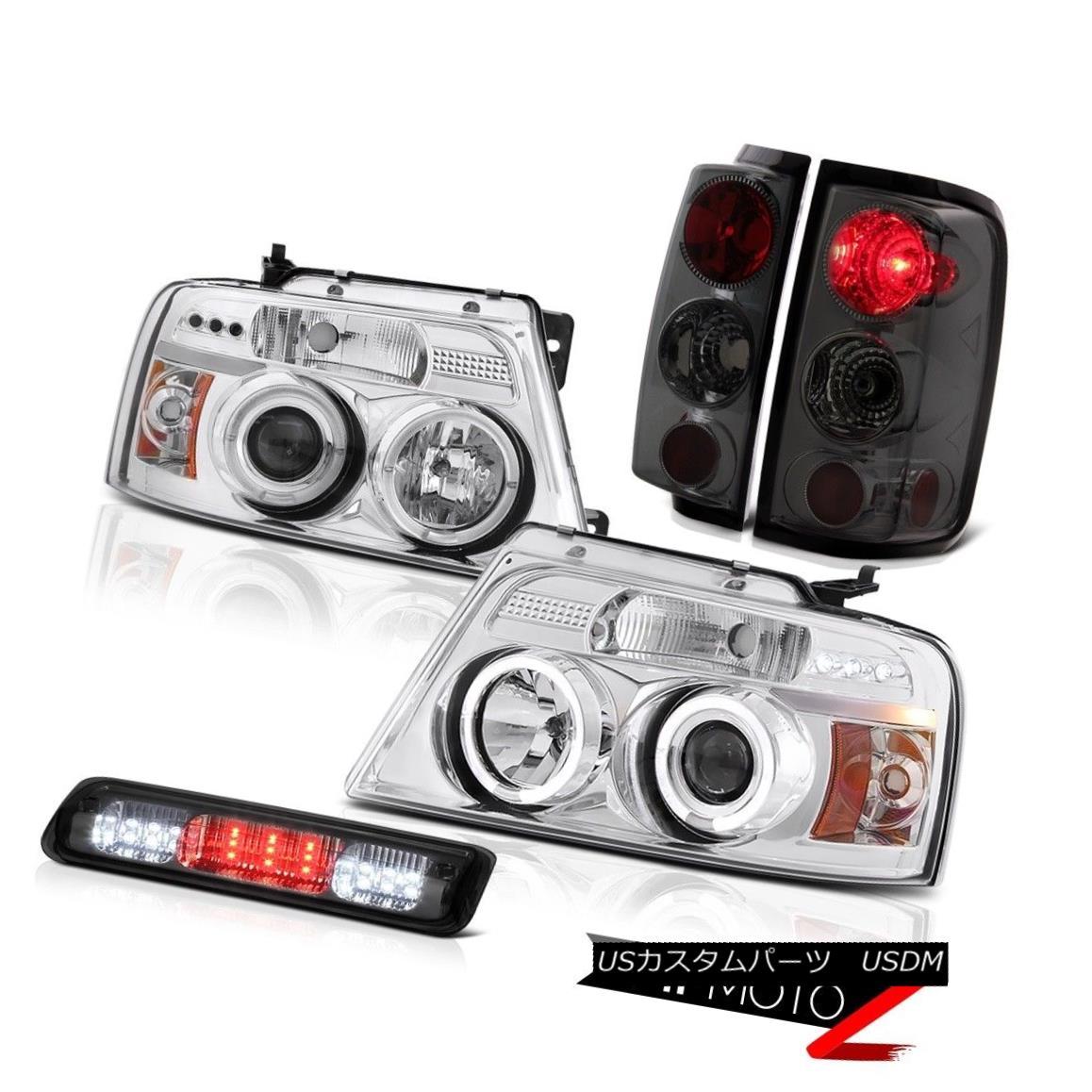 テールライト 04-08 Ford F150 XL Dark Smoke High Stop Light Projector Headlamps Taillights LED 04-08 Ford F150 XLダークスモークハイストップライトプロジェクターヘッドランプテールライトLED