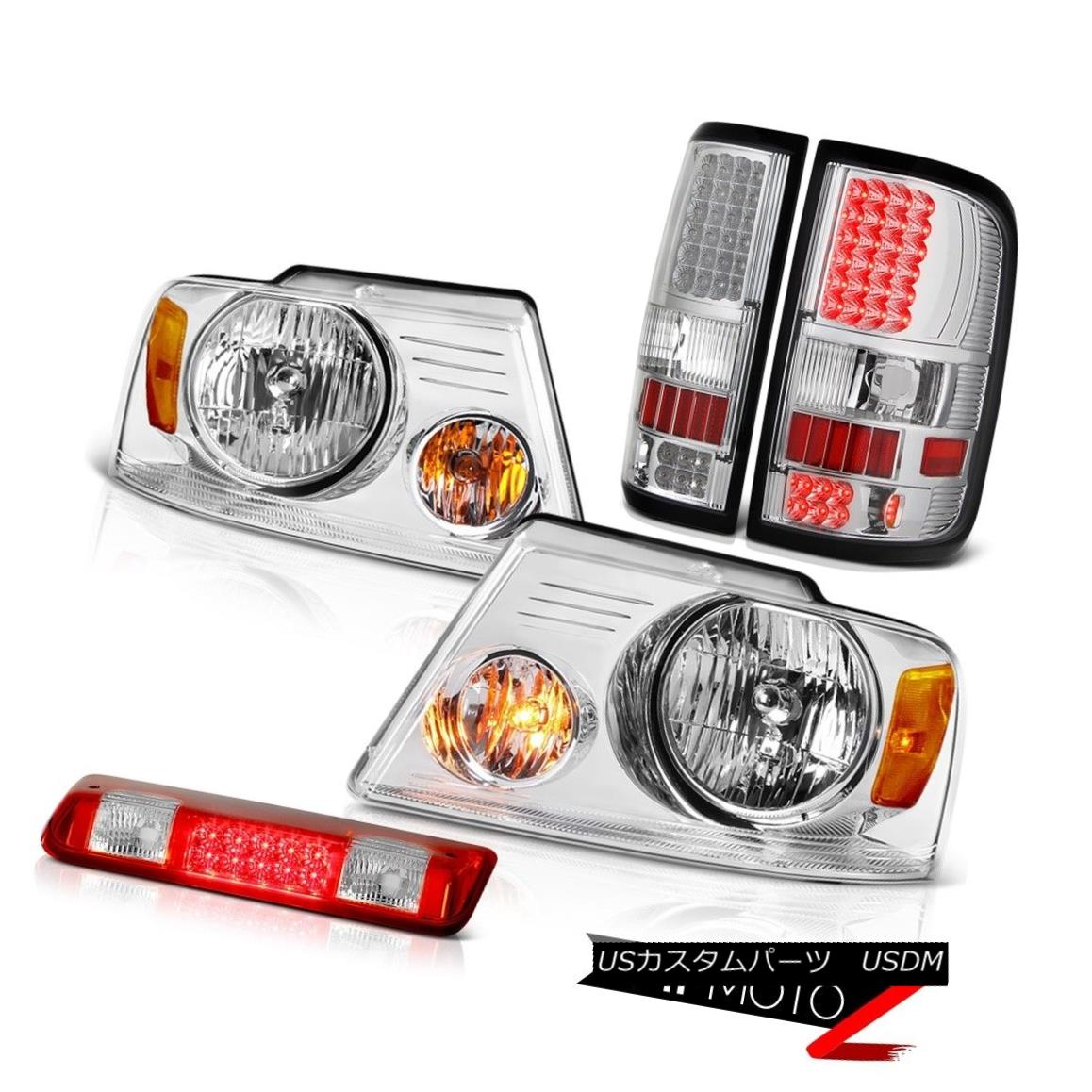 テールライト 04-08 Ford F150 XL Red Roof Cab Lamp Euro Chrome Headlamps Tail Brake Lights SMD 04-08フォードF150 XL赤い屋根のキャブランプユーロクロームヘッドランプテールブレーキライトSMD