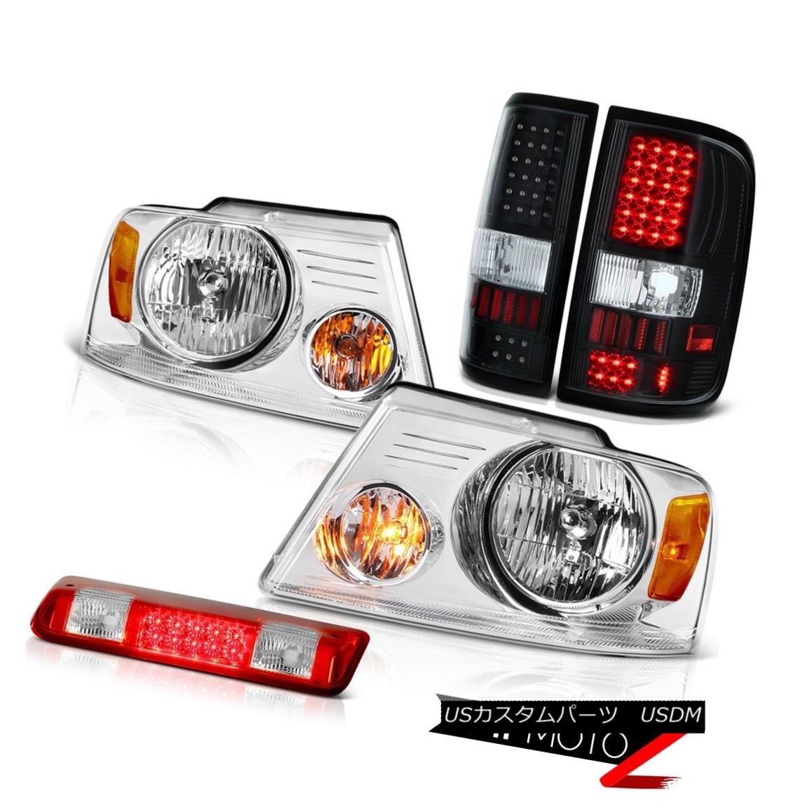 テールライト 04-08 Ford F150 XLT Red Roof Cab Light Euro Clear Headlamps Black Taillamps LED 04-08 Ford F150 XLTレッドルーフキャブライトユーロクリアヘッドランプブラックタイランプLED