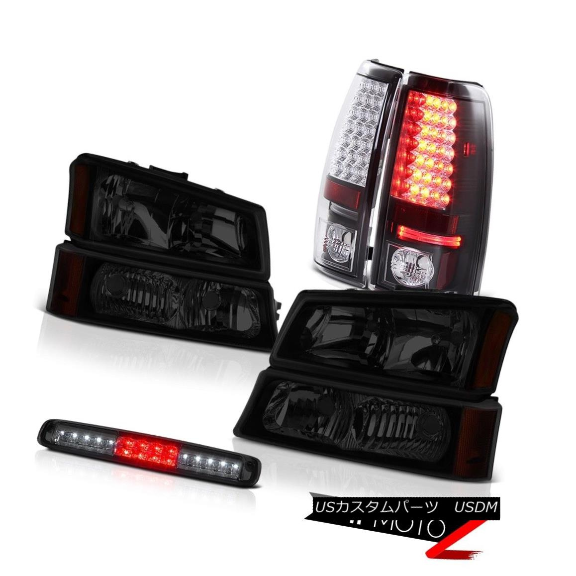 テールライト 03-06 Chevy Silverado 2500Hd Dark Tinted Headlights 3RD Brake Light Tail Lights 03-06 Chevy Silverado 2500Hdダークティンテッドヘッドライト3RDブレーキライトテールライト