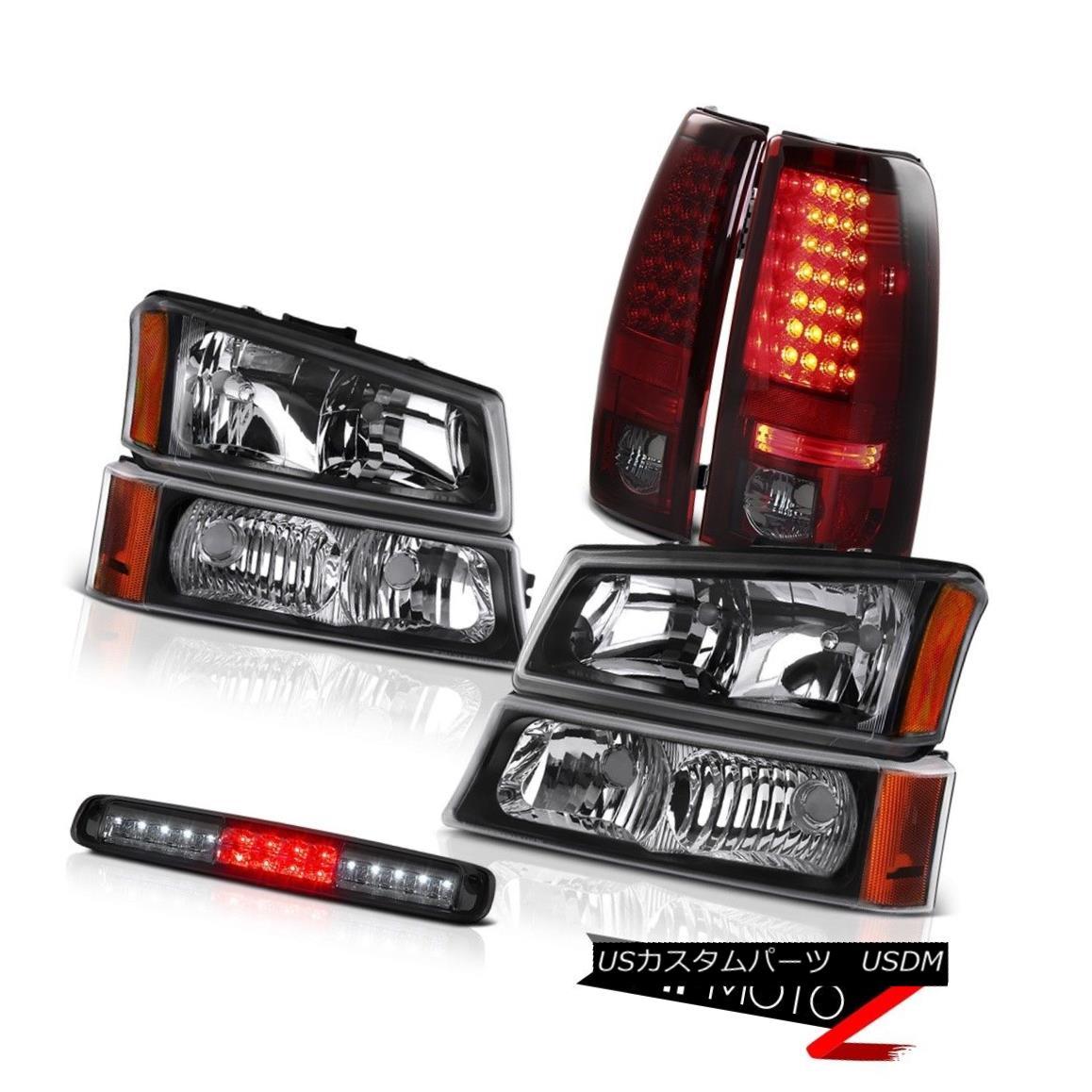 テールライト 03-06 Silverado 1500 Nighthawk Black Headlamps Smoked 3RD Brake Light Tail Lamps 03-06 Silverado 1500ナイトホークブラックヘッドランプスモーク3RDブレーキライトテールランプ