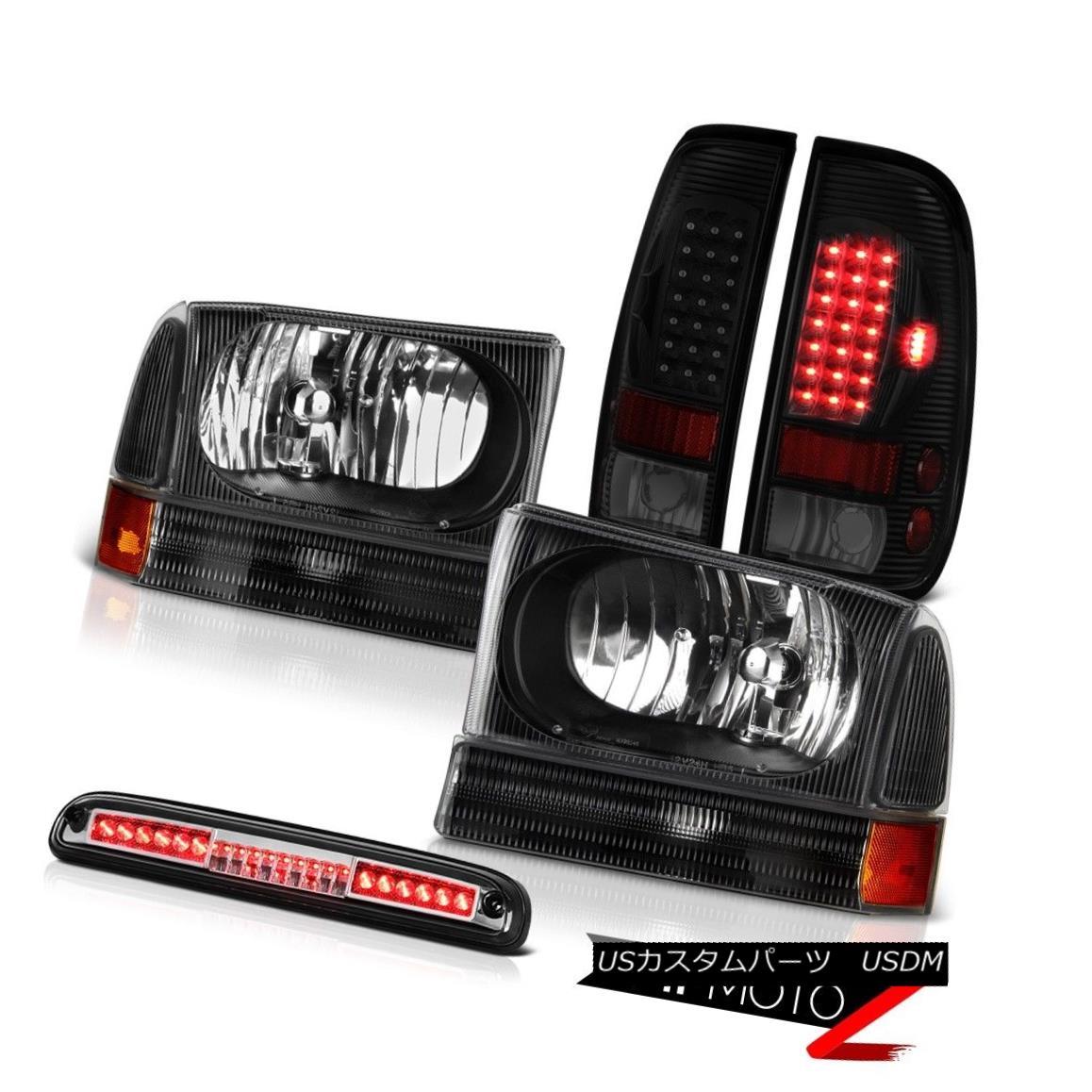 テールライト 1999-2004 F350 5.4L Black Headlamps Taillights Clear Chrome Roof Cab Lamp LED 1999-2004 F350 5.4LブラックヘッドランプテールランプクリアクロームルーフキャブランプLED