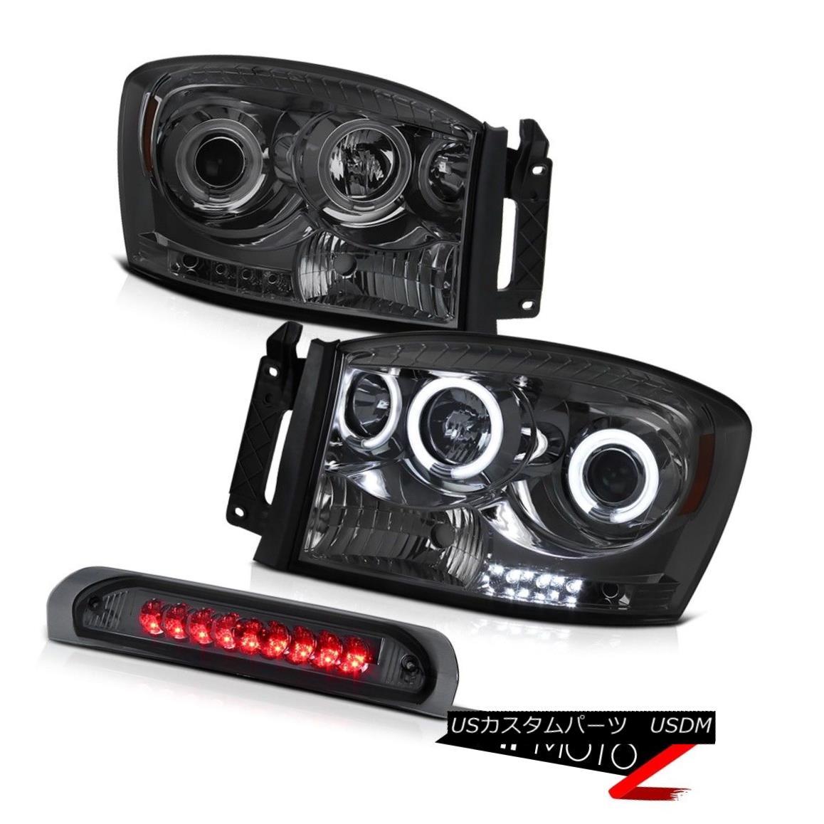 テールライト Smoke CCFl Halo Projector Headlight+LED 3rd Brake Lamp 06-08 Dodge RAM 1500/2500 煙CCFlハロープロジェクターヘッドライト+ LED第3ブレーキランプ06-08 Dodge RAM 1500/2500