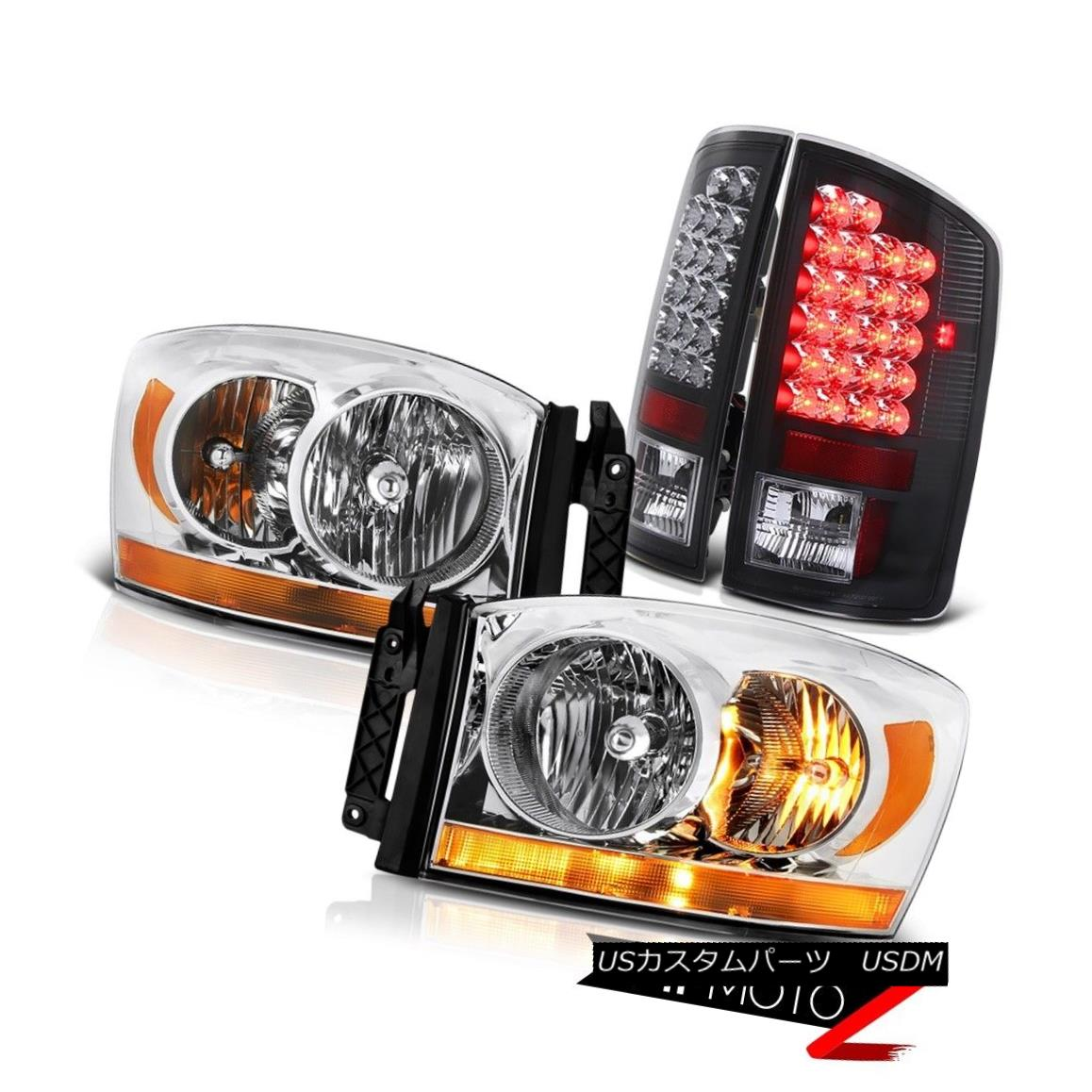 テールライト 2006 Ram 3.7L Clear Chrome Headlamps Raven Black Taillamps SMD