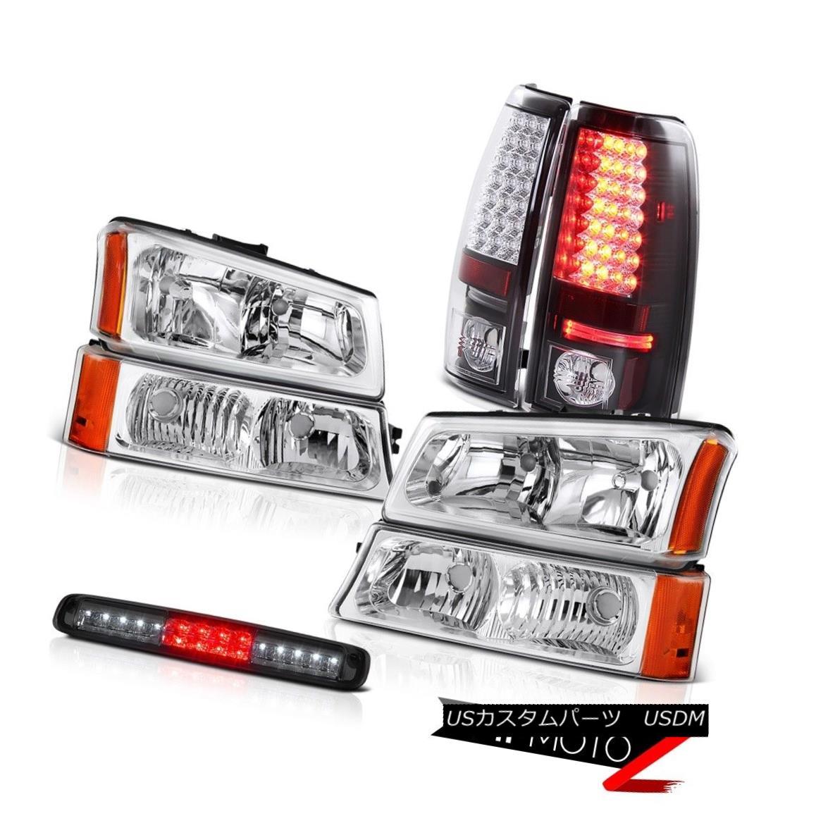 テールライト 2003-2006 Silverado Crystal Clear Headlights Smoked Third Brake Lamp Tail Lamps 2003-2006シルバラードクリスタルクリアヘッドライトスモークサードブレーキランプテールランプ