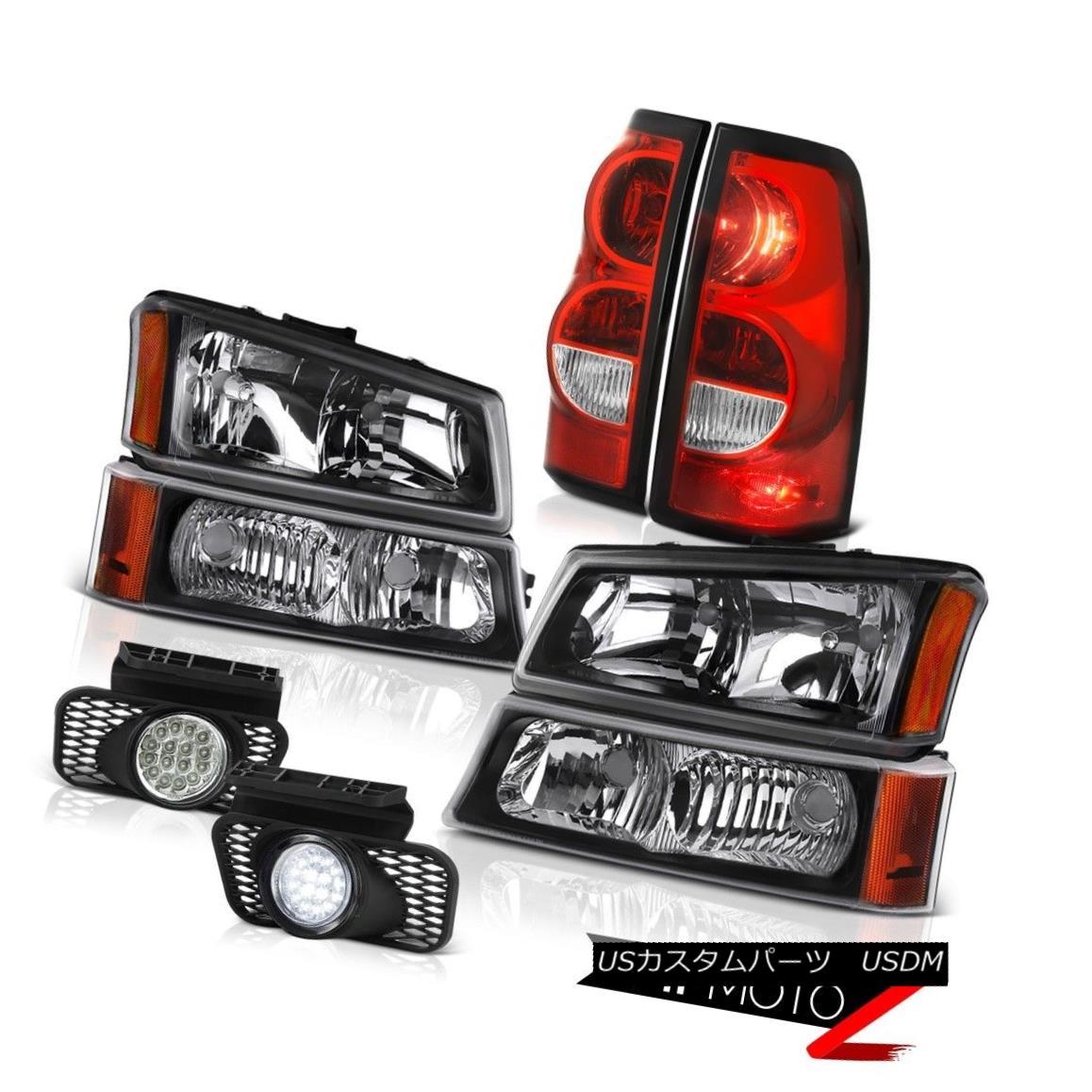 テールライト 03-06 Chevy Silverado 2500Hd Chrome Foglamps Wine Red Taillights Black Headlamps 03-06 Chevy Silverado 2500Hd Chrome Foglampsワインレッドテイルライトブラックヘッドランプ