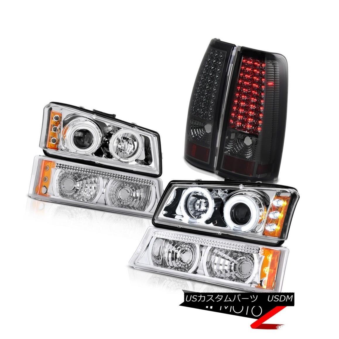 テールライト CCFL Ring Headlights Euro Turn Signal Smoke LED Taillight 2003-2006 Silverado LT CCFLリングヘッドライトユーロターンシグナルスモークLEDテールライト2003-2006シルバラードLT