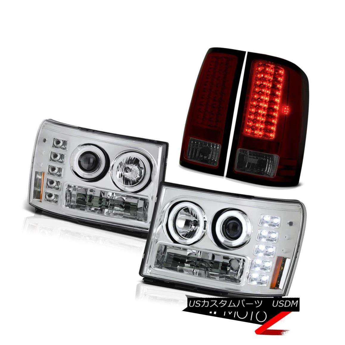 テールライト Brightest 2x CCFL Halo Ring Headlights LED Tail Lights GMC Sierra 2500HD Denali 最も明るい2x CCFLハローリングヘッドライトLEDテールライトGMC Sierra 2500HD Denali