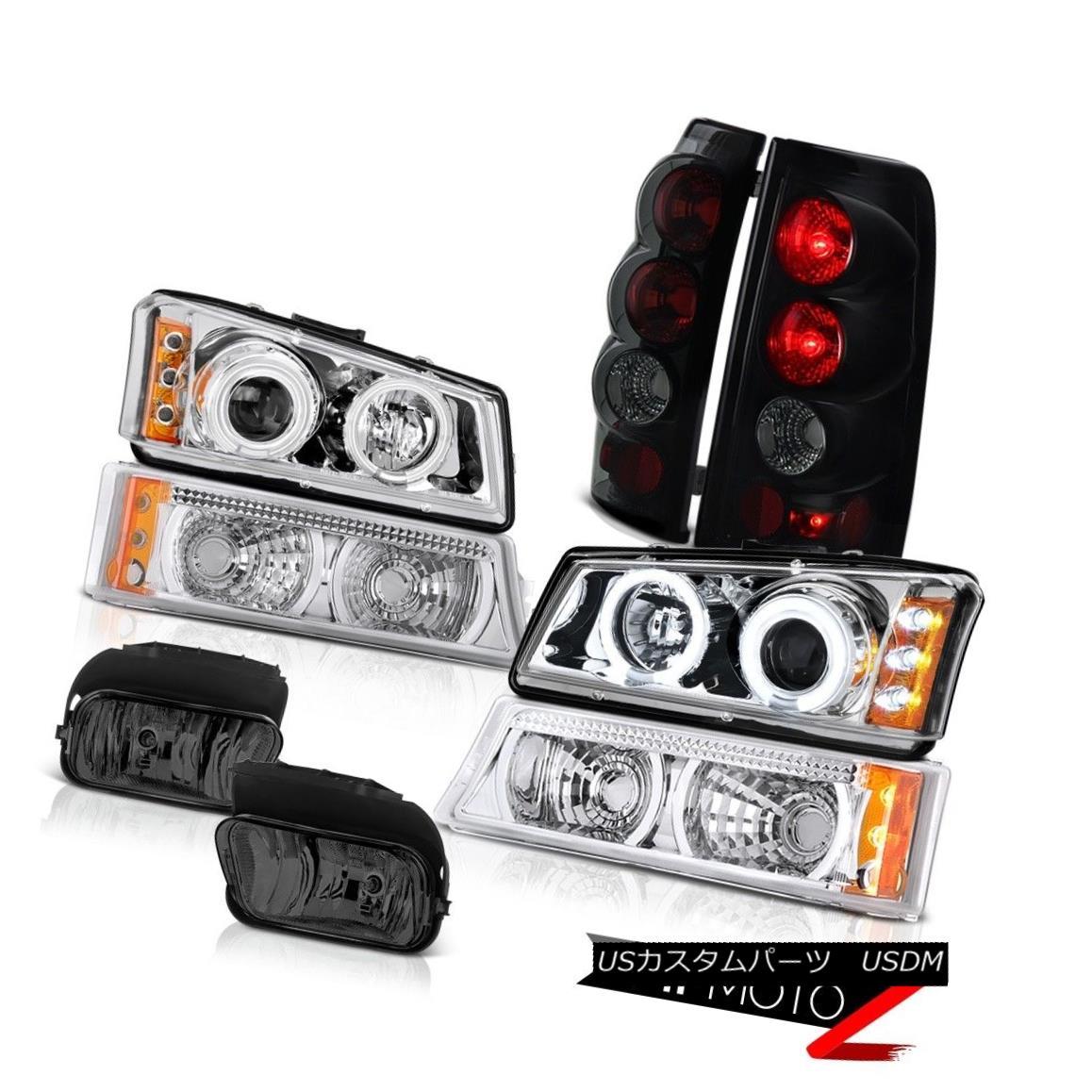 テールライト 03 04 Vortec Max Halo Headlights Bumper Sinister Black Rear Driving Foglamps 03 04 Vortec Max Haloヘッドライトバンパーシニスターブラックリアフォグランプ