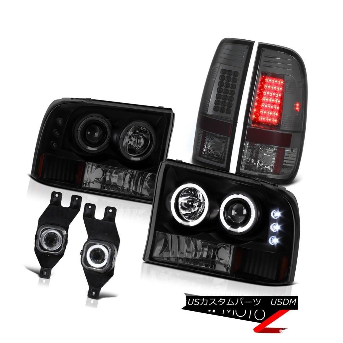テールライト 99-04 F250 F350 F450 SuperDuty Smoke LED Tail Lights Smoke Black Halo Headlights 99-04 F250 F350 F450 SuperDutyスモークLEDテールライトスモークブラックHaloヘッドライト