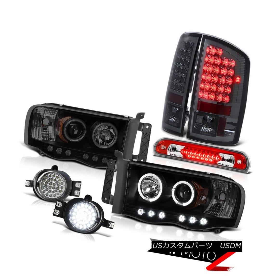テールライト 2002-2005 Ram Magnum V8 Halo Ring LED Headlights Smoke Brake Lights Third Cargo 2002 - 2005ラムマグナムV8ハローリングLEDヘッドライトスモークブレーキライト第3貨物