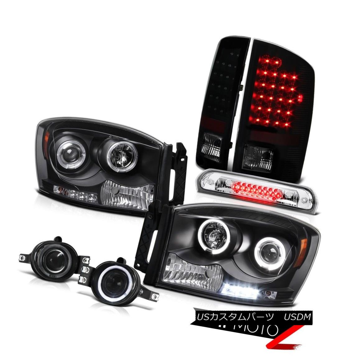 テールライト 07 08 Ram Hemi Black Angel Eye Headlights LED Tail Lights Driving Fog Roof Clear 07 08 Ram HemiブラックエンジェルアイヘッドライトLEDテールライトドライビングフォグルーフクリア