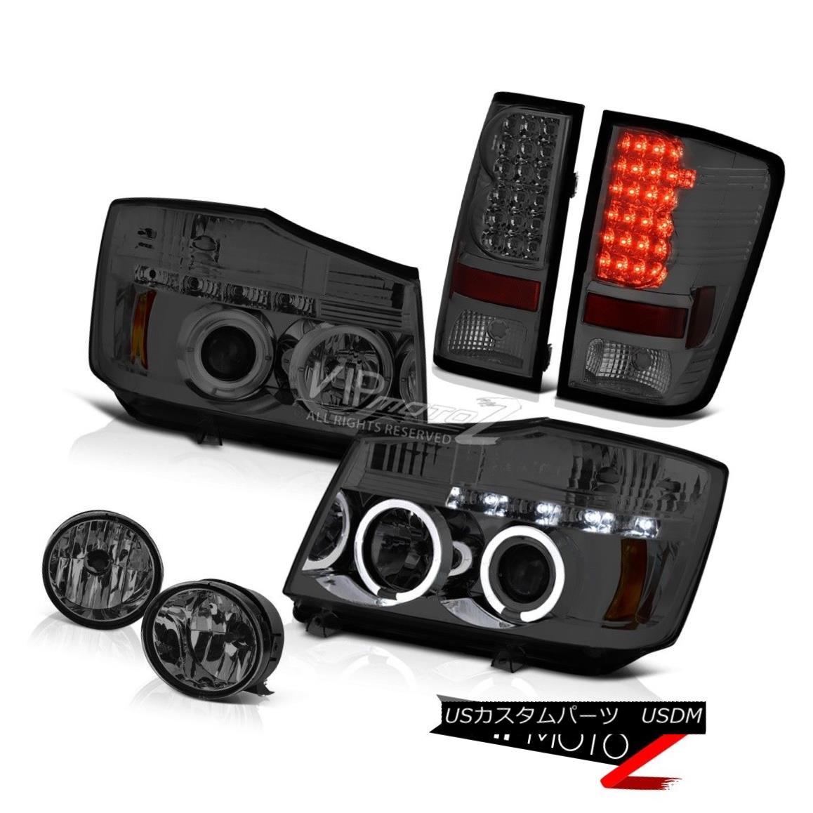 テールライト For 04-15 Titan LE Smoke LED Headlight Tinted LED Rear Brake Tail Light Dark Fog 04-15タイタンLEスモークLEDヘッドライトティンテッドLEDリアブレーキテールライトダークフォグ