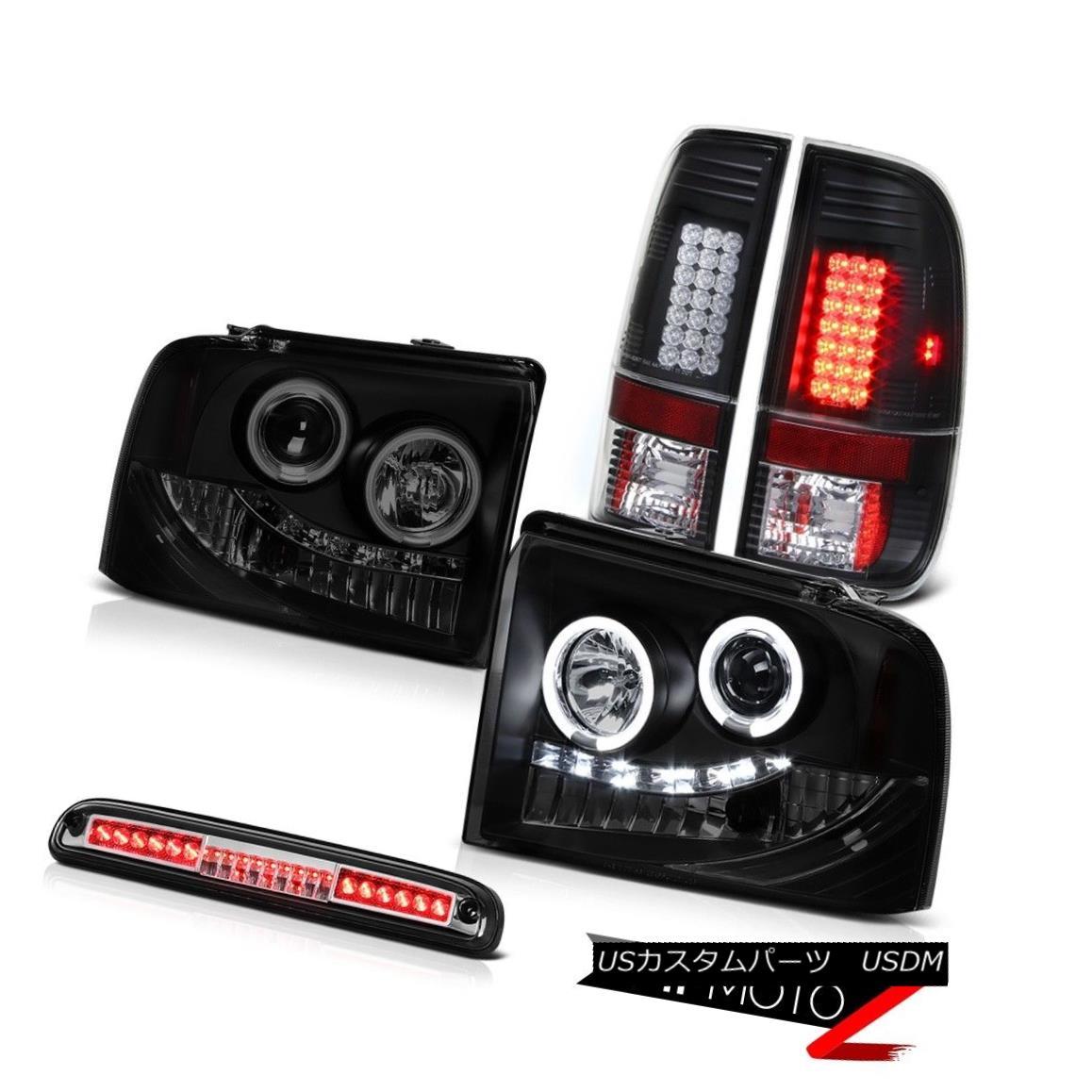 テールライト Sinister Black CCFL Rim Headlights Brake Tail Lights LED 05-07 F350 TurboDiesel SinisterブラックCCFLリムヘッドライトブレーキテールライトLED 05-07 F350 TurboDiesel