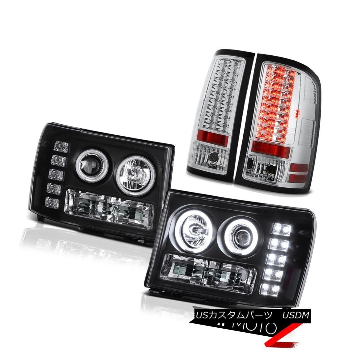 テールライト Brightest CCFL Halo Headlight Chrome LED Taillamp 2013 2014 GMC Sierra Diesel WT 最も明るいCCFL HaloヘッドライトクロームLED Taillamp 2013 2014 GMC Sierra Diesel WT