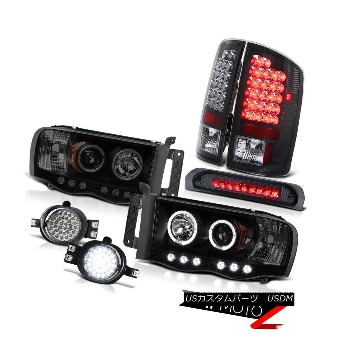 テールライト 2002-2005 Ram 3500 SMD DRL Headlamps Black LED Tail Lights Fog High Brake Cargo 2002-2005 Ram 3500 SMD DRLヘッドランプブラックLEDテールライトフォグハイブレーキ貨物