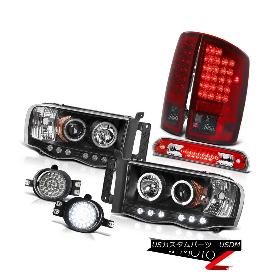 テールライト 2002-2005 Dodge Ram Black LED DRL Headlamps Red Smoke Tail Lights SMD Wine Brake 2002-2005ダッジラムブラックLED DRLヘッドライト赤煙テールライトSMDワインブレーキ
