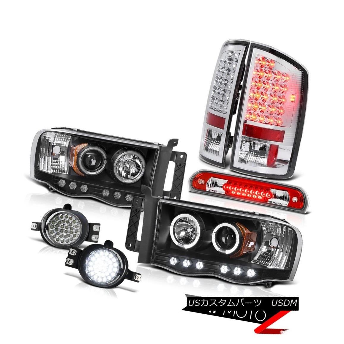 テールライト 2002-2005 Ram 1500 Angel Eye Headlights LED Taillights Trim Foglights Red Third 2002-2005 Ram 1500 Angel EyeヘッドライトLEDテールライトトリムフォグライトRed Third