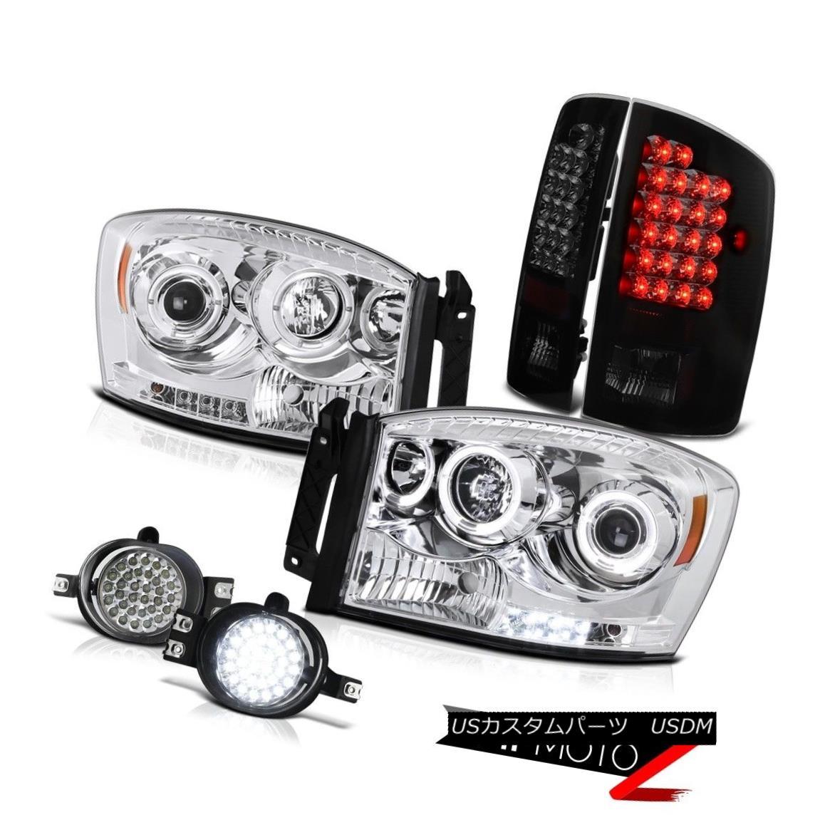 テールライト Dodge Ram 2007 2008 FULL LED Fog Light+Smoke Tail Light+Halo Projector Headlight Dodge Ram 2007 2008フルLEDフォグライト+スモークテールライト+ハロープロジェクターヘッドライト