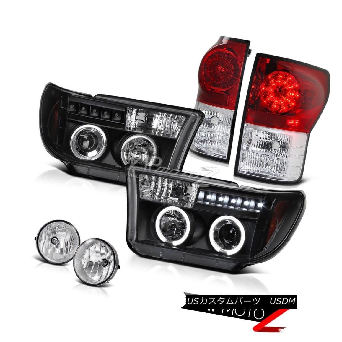 テールライト Black Halo Projector Headlight+Led Tail Light+Fog Lamp Toyota 07-2013 Tundra ブラックハロープロジェクターヘッドライト+ Ledテールライト+ FogランプToyota 07-2013 Tundra