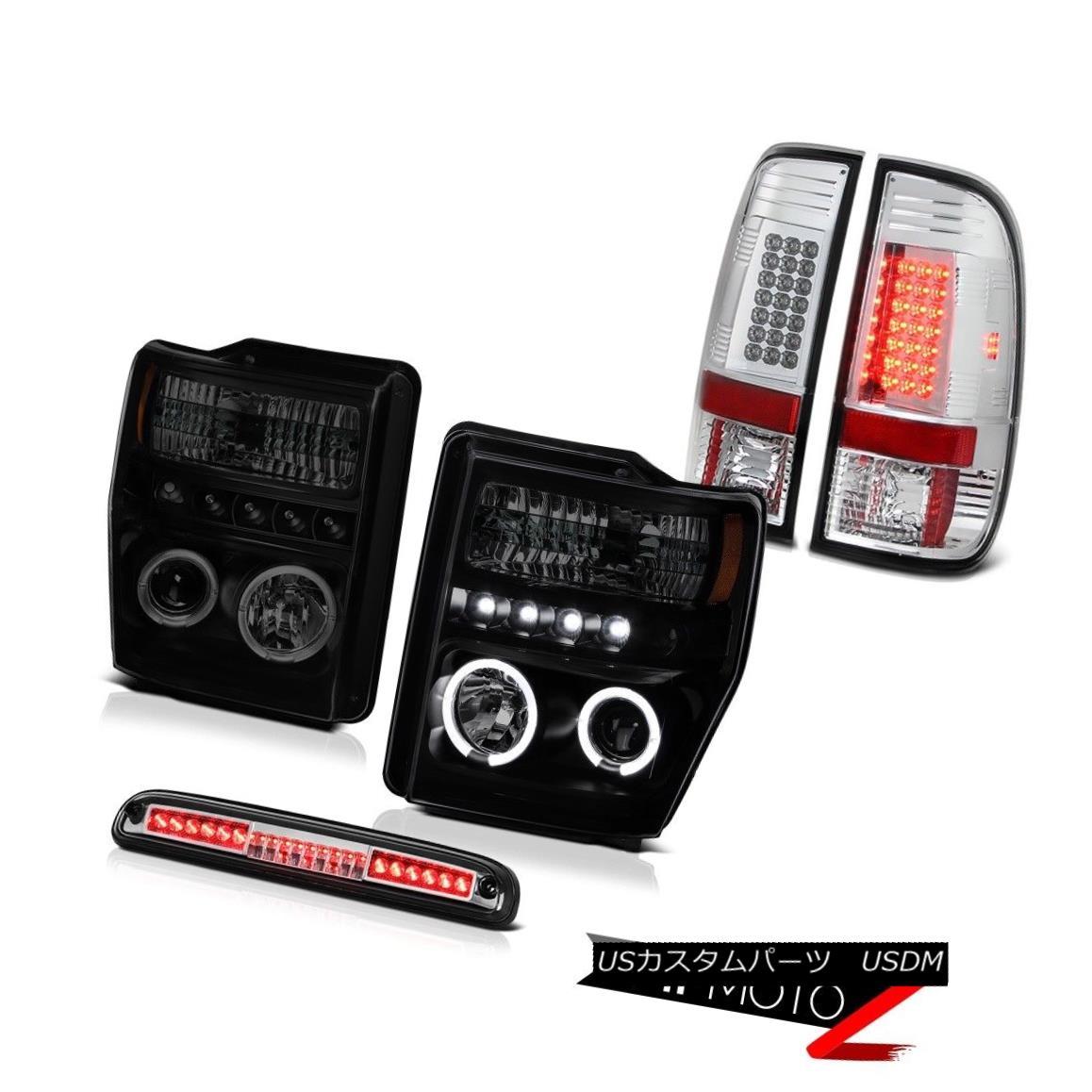 テールライト Sinister Black Headlight High Stop LED Chrome Tail Light 08-10 F350 Turbo Diesel シニスターブラックヘッドライトハイストップLEDクロムテールライト08-10 F350ターボディーゼル