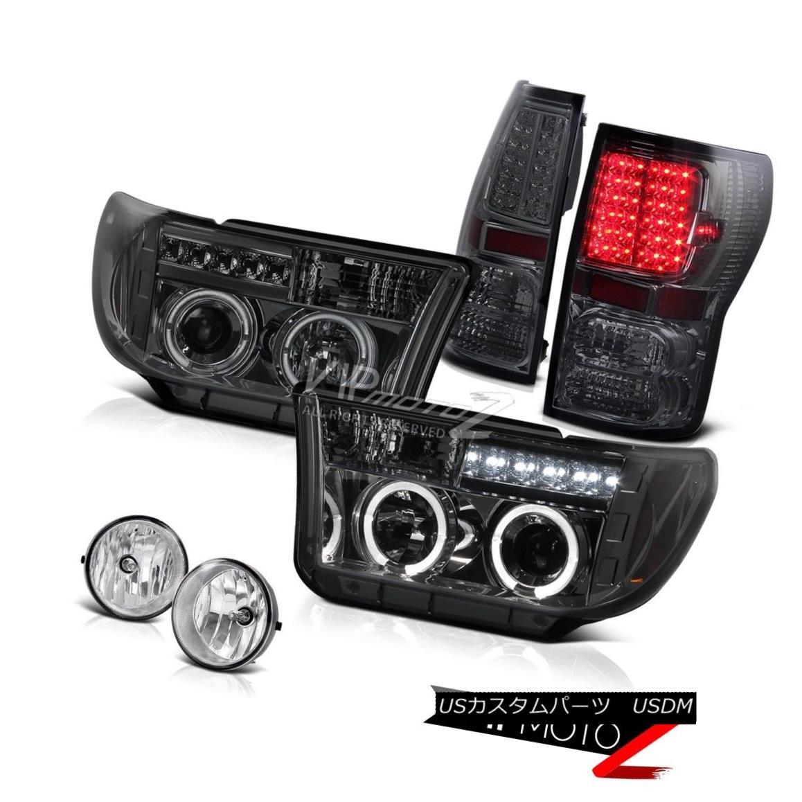 テールライト Halo Projector Smoke Headlight+Led Tail Light+Fog Lamp 07-2013 Toyota Tundra ハロープロジェクタースモークヘッドライト+ Ledテールライト+フォグランプ07-2013 Toyota Tundra