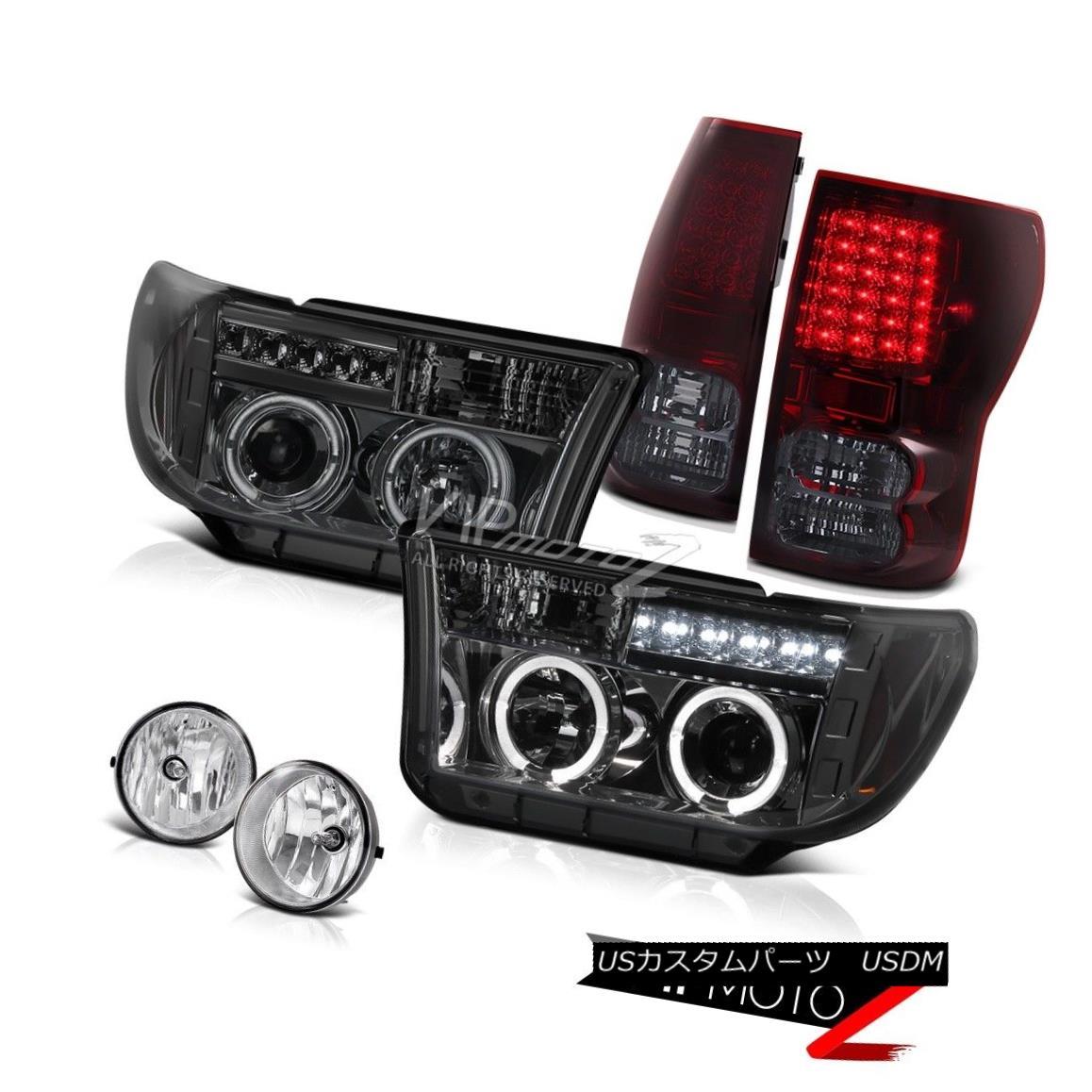 テールライト Halo Projector Smoke Headlight+Led Tail Light+Fog Lamp Toyota Tundra 07-13 ハロープロジェクター煙ヘッドライト+ Ledテールライト+フォグランターToyota Tundra 07-13