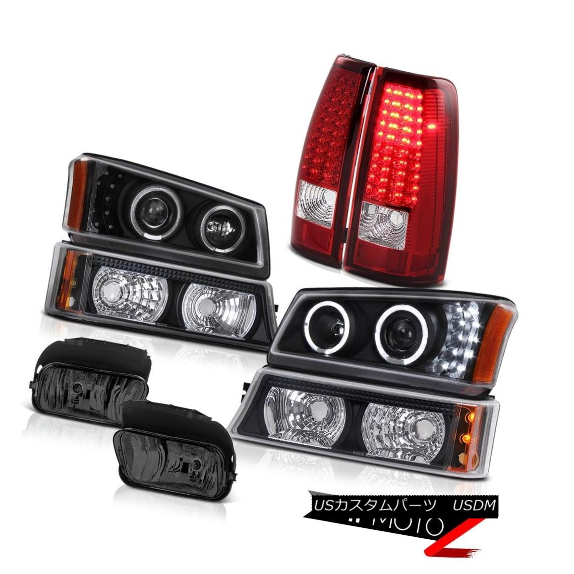 テールライト 03-06 Silverado Halo Projector Headlight Black LED Tail Lights Driving Foglight 03-06 Silverado HaloプロジェクターヘッドライトブラックLEDテールライトドライビングフォグライト