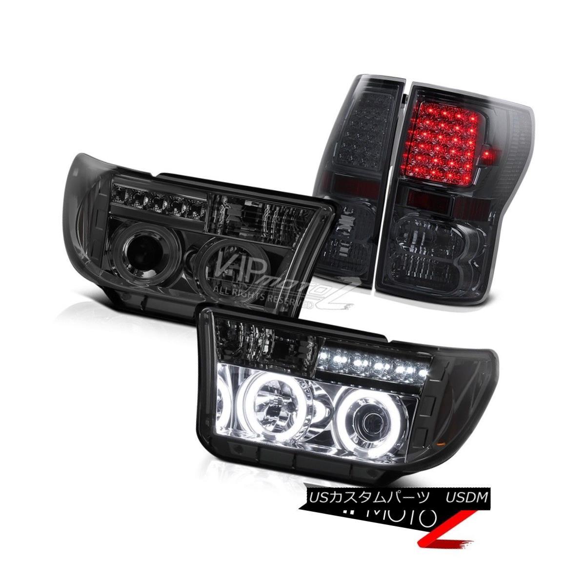 テールライト 07-13 Tundra V8 Truck CCFL Smoke LED Halo Projector Headlight+SMD Tail Lamp L+R 07-13 Tundra V8トラックCCFLスモークLEDハロープロジェクターヘッドライト+ SMDテールランプL + R