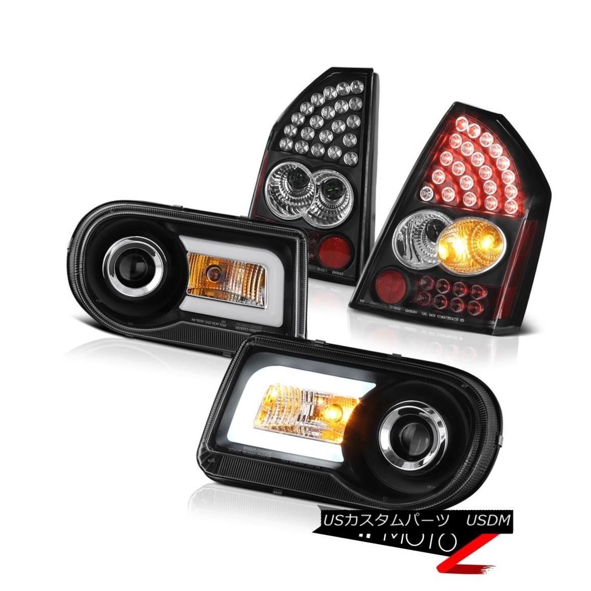 テールライト 05-07 Chrysler 300C 5.7L New Pair Crystal Halo Headlights Black LED Taillights 05-07クライスラー300C 5.7L新しいペアのクリスタルヘイローヘッドライトブラックLEDテールライト