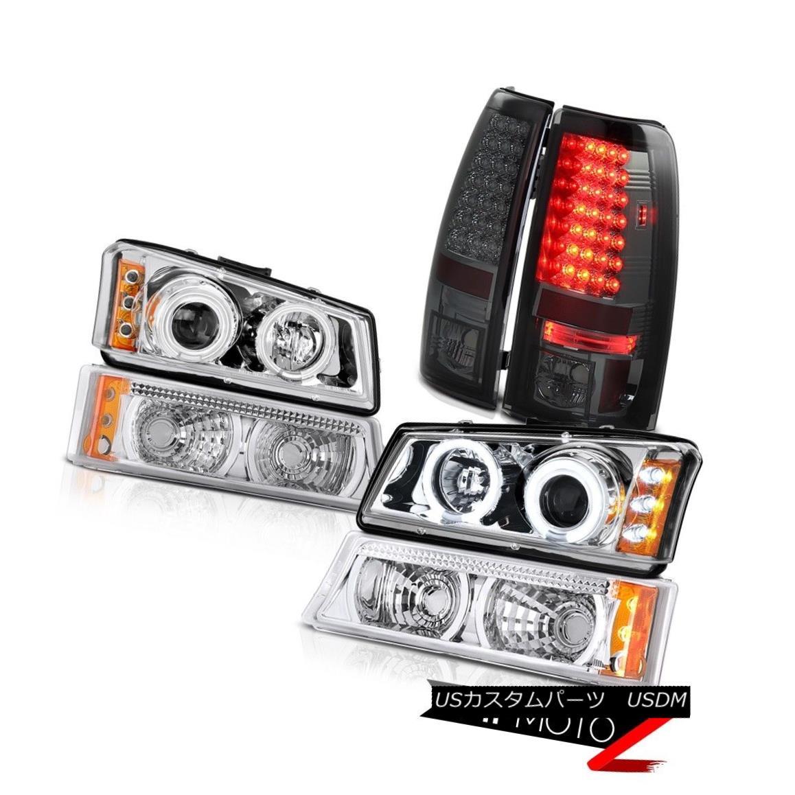 テールライト Brightest CCFL Halo Headlight Signal Brake Tail Light 2003-2006 Silverado 3500HD 最も明るいCCFLハローヘッドライト信号ブレーキテールライト2003-2006シルバラード3500HD